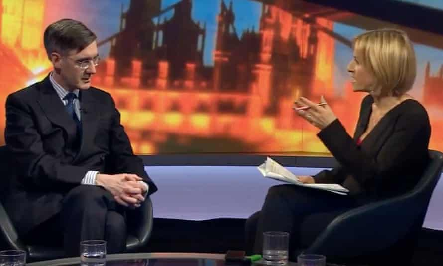 Emily Maitlis interviews Jacob Rees-Mogg on Newsnight, 28 March 2019.
