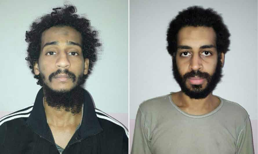El Shafee Elsheikh (left) and Alexanda Kotey after their capture in eastern Syria in January.