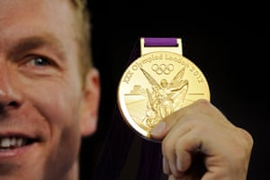 Sir Chris Hoy poses with his gold medal after winning the men's keirin final and so becoming the most successful British Olympian ever during day eleven of the London Olympics at the Olympic Velodrome on August 7th 2012.