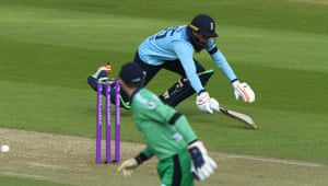 Adil Rashid of England is run out by Lorcan Tucker of Ireland.
