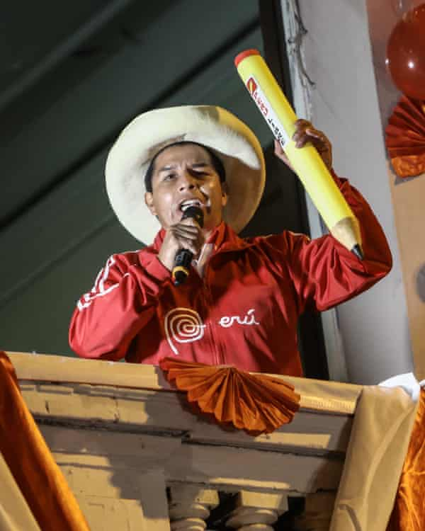 Pedro Castillo speaking with supporters in Lima at the end of his campaign for the presidential elections.