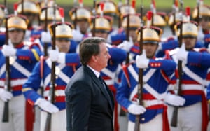 President Bolsonaro reviewing the troops
