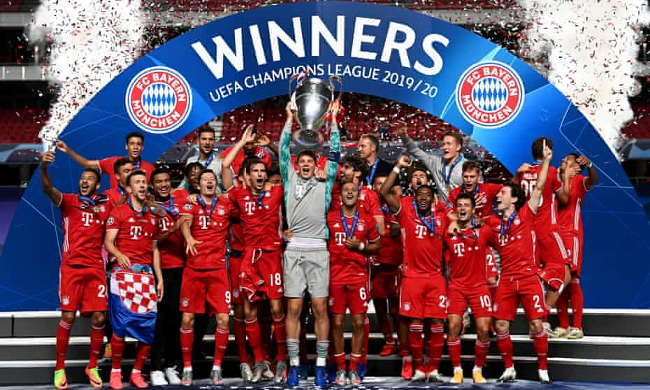 Bayern Munich celebrate after winning the 2020 Champions League final in August.