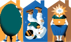 Illustration of woman hiding behind hedge, an astronaut and a woman on a laptop