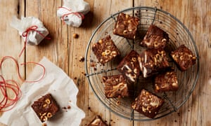 Thomasina Miers' kamut chocolate brownies with white chocolate buttons.