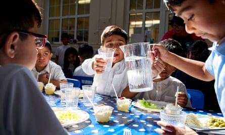 Children having their lunch at Stanley Road primary school, Oldham