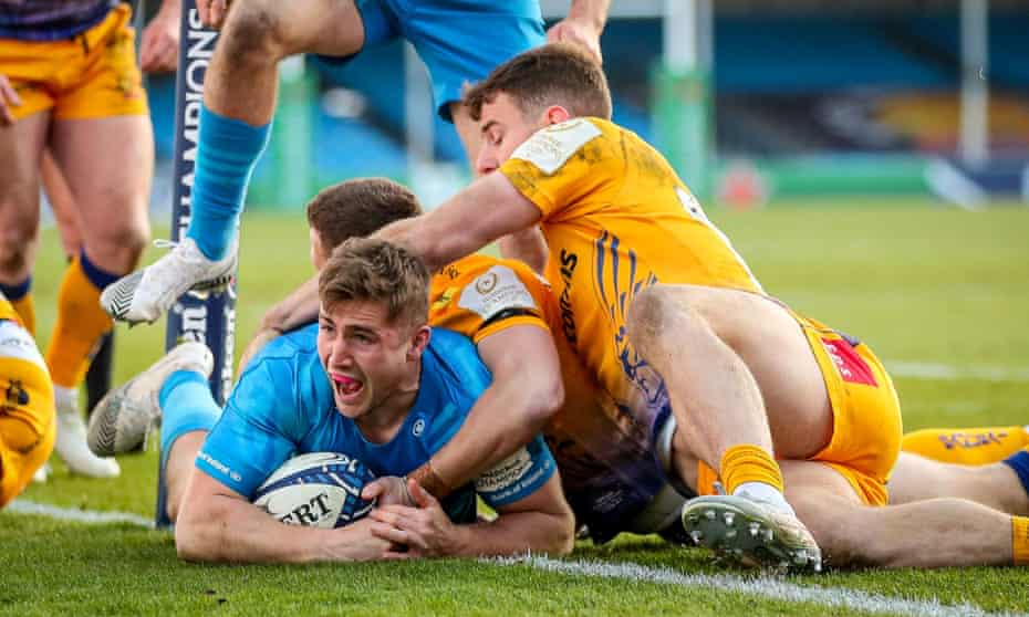 An elated Jordan Larmour touches down for Leinster.