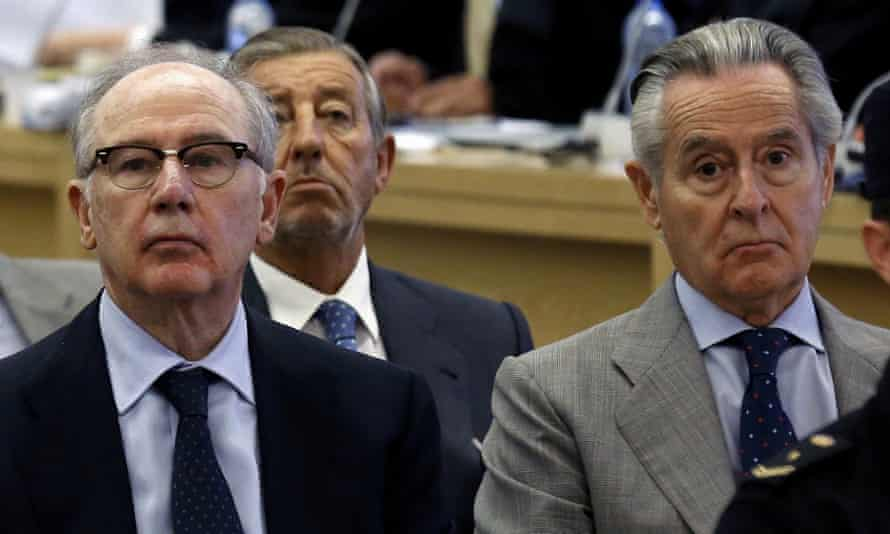 Rodrigo Rato, left, in court in September, next to Miguel Blesa, former chair of Caja Madrid.