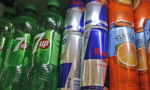 Sugary drinks on display in a supermarket
