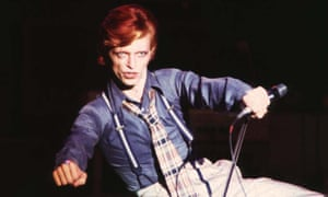 David Bowie on the Diamond Dogs Tour, 1974.
