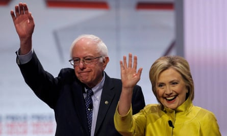 Democratic presidential candidates Bernie Sanders and Hillary Clinton