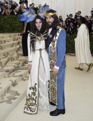 Lana Del Rey and Jared Leto went full Mary and Jesus with their elaborate Renaissance-inspired outfits designed for the pair by Gucci.