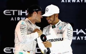 Hamilton congratulates Rosberg.