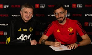 Ole Gunnar Solskjær with Bruno Fernandes after the Sporting midfielder signed for Manchester United.