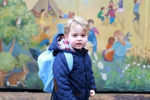 Prince George on his first day at the Westacre Montessori nursery school near Sandringham in Norfolk.