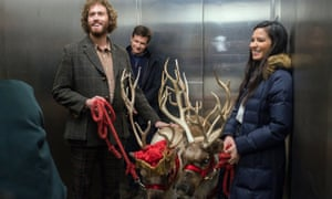 A nice turn … TJ Miller, left, with Jason Bateman and Olivia Munn.
