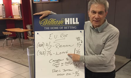 Graham Sharpe, William Hill spokesman, points to the odds last week for Britain's EU referendum.