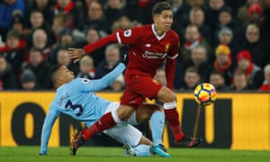 Liverpool's Roberto Firmino races away from Manchester City's Danilo on a day when his infectious energy was too much for the unbeaten league leaders.