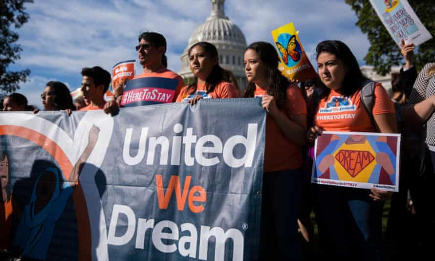 Protesters demonstrate in Washington in support of Daca protections for undocumented young people.