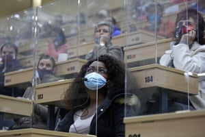 Bidders sit in separate perspex cubicles during a flower auction in Johannesburg, South Africa