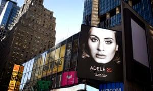 Adele's album 25 advertised on a New York billboard last November.