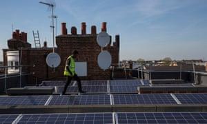 Residential solar panels in London.