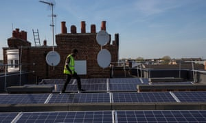 A community solar panel installation on the roof of Bannister House, Hackney, London.