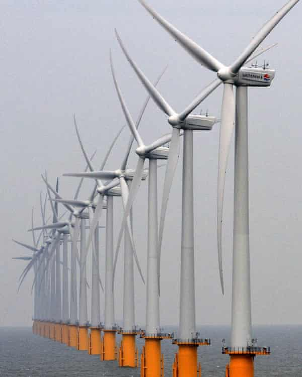 The Thanet offshore windfarm off the coast of Ramsgate in Kent