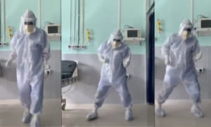 Some screen shots of Dr Arup Senapati dancing to cheer up Covid-19 patients.