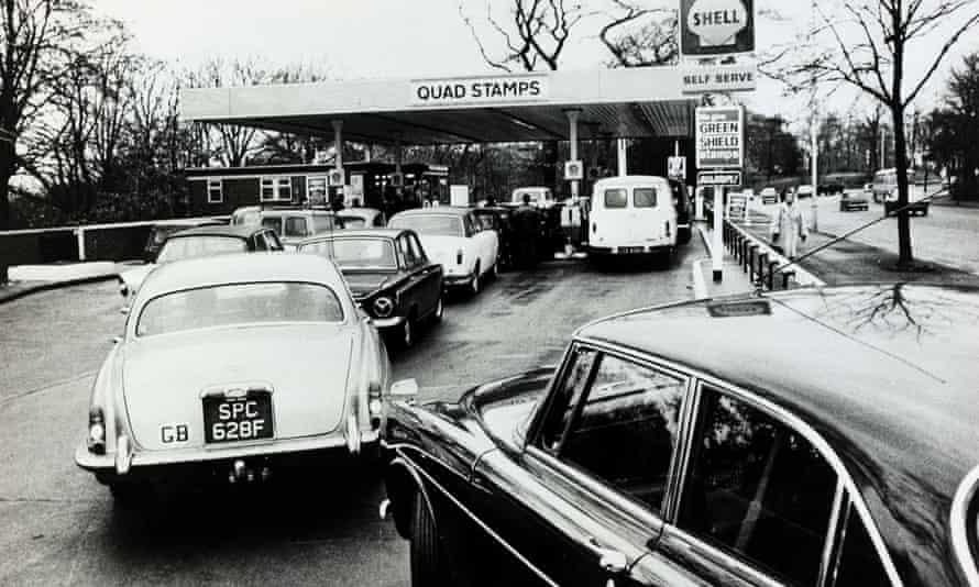British motorists queue for petrol during the oil crisis of 1973.