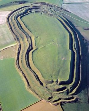 Maiden Castle earthworks in Dorset