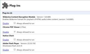 Chrome plug-in settings.