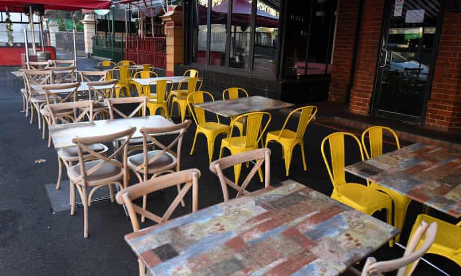 Empty restaurant furniture