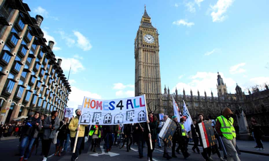 Protestors demonstrate against the government's housing and planning bill in January.