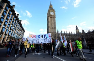 Demonstrators march to Downing Street, London, in January to protest at government housing policy.
