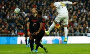 Real Madrid's Casemiro scores his second goal.
