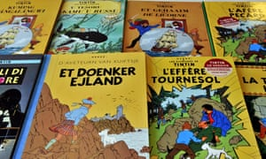 Tintin books in several languages.