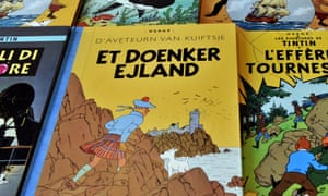 'The only one to wear a kilt in The Black Island' … various international editions of Tintin books.