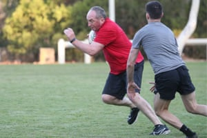 Barnaby Joyce at the annual pollies v press gallery touch football match on the Senate oval on Tuesday morning.