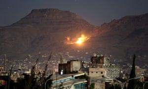 A Saudi-led airstrike on the outskirts of Yemen's capital, Sanaa, in 2016.
