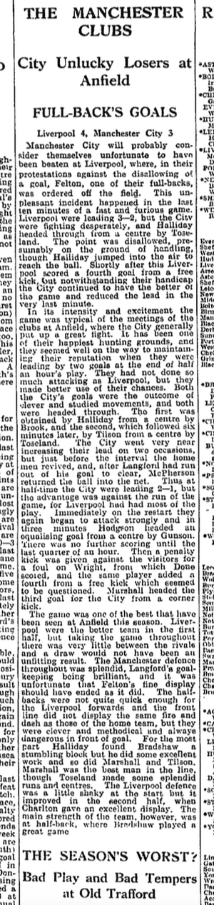 The Guardian match report on Liverpool 4-3 Manchester City, 21 November 1931