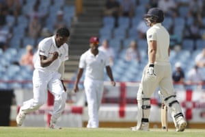 Keemo Paul celebrates dismissing Rory Burns with today's first ball.