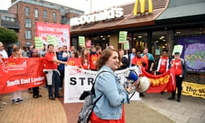Strikers outside the Crayford McDonald's in south-east London in September.