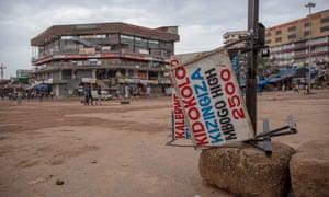 An empty taxi park in Kampala