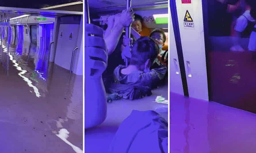 Photos taken by Weibo user merakiZz- show a deluged subway car in Zhengzhou, Henan province