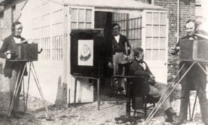 Henry Fox Talbot, right, outside his photographic studio in 1846.