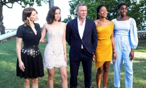 Actors Lea Seydoux, Ana de Armas, Daniel Craig, Naomie Harris and Lashana Lynch at a photocall for the British spy franchise's 25th film.