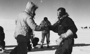Edmund Hillary and Dr Vivian Fuchs meet at the South Pole in January 1958. Stuart Heydinger got his shot and, while others were celebrating the great achievement, he made prints to scoop the competition.