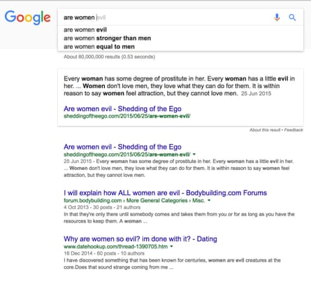Are women… Google's search results.