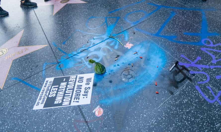 Donald Trump's star vandalised on the Walk of Fame amid Black Lives Matters protests.